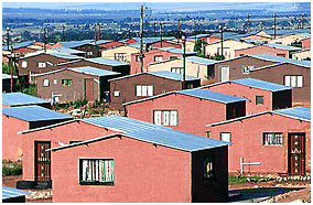 Low Cost Housing Township in Südafrika