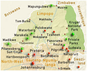 Südafrika Karte Sehenswürdigkeiten.Reiseziel Nordosten