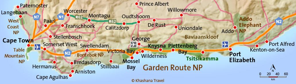 Karte Südafrika Garden Route.Garden Route Südafrika